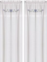 Gardinlängder vit broderade blå rosor korsstygn spets shabby chic lantlig stil