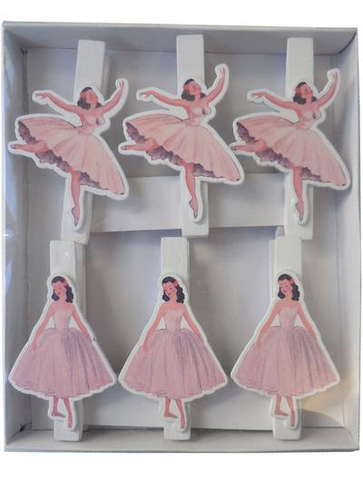 Klämmor mini klädnypor Ballerina shabby chic lantlig stil