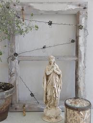 Dekoration handgjord i gammaldags stil mörk patina blommor på tråd ranka 1,2 m shabby chic lantlig stil