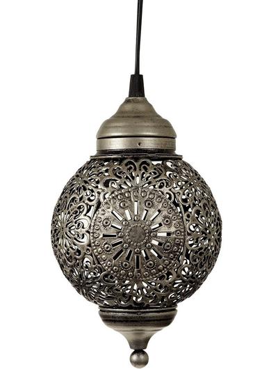 Rund antiksilverfärgad orientalisk lampa genombrutet spetsmönster