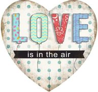Metallskylt plåtskylt LOVE is in the air magnet shabby chic lantlig stil