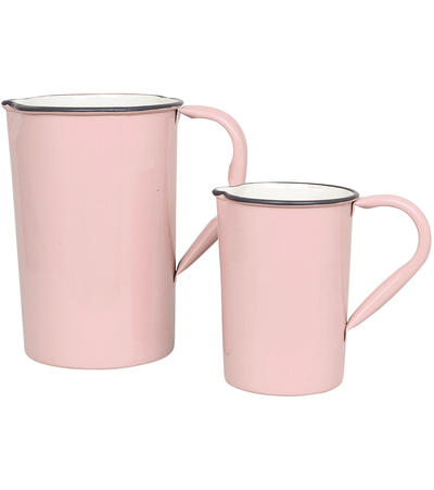 Emaljkanna kanna i emalj rosa retro 2 storlekar shabby chic lantlig stil