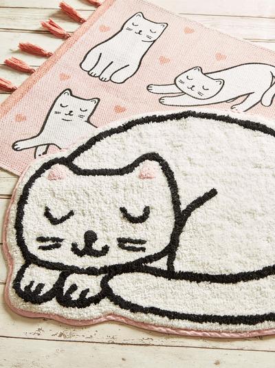 Katt matta rosa vit fransar bomull shabby chic lantlig stil