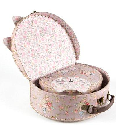 2 storlekar väska Katt resväska shabby chic lantlig stil