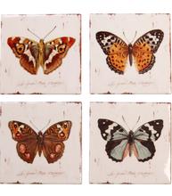 Underlägg glasunderlägg fjärilar 4 set shabby chic lantlig stil