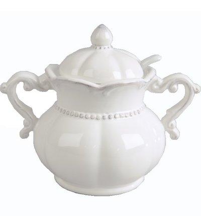 Sockerskål romantisk vit med sked shabby chic lantlig stil