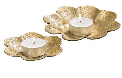 Ljushållare ljusfat guld 2 storlekar shabby chic lantlig stil