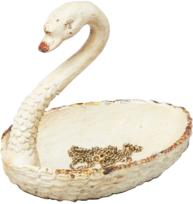 Smyckeshållare vit svan vintage metall shabby chic lantlig stil