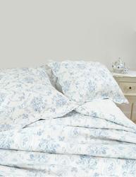 Överkast quilt ljusblå toilemönster rosor 2 storlekar shabby chic lantlig stil