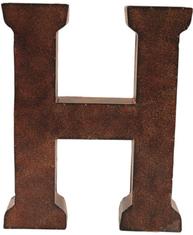 H stor plåtbokstav rostbrun färg industristil