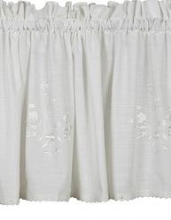 Kappa gardinkappa vit broderade vita blommor spets shabby chic lantlig stil