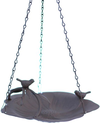 Hängande fågelbad blomformad plåt med fåglar shabby chic lantlig stil