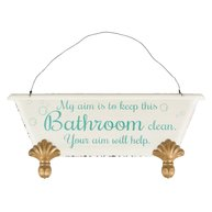 Skylt plåtskylt Keep This Bathroom Clean shabby chic lantlig stil