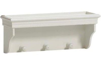 Hylla trä vägghylla med knoppar vit fransk lantstil shabby chic lantlig stil