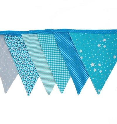 Vimplar vimpelslinga Ljusblå blå 4,5 m 15 flaggor shabby chic lantlig stil