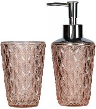 Set tvålpump tandborstglas puderrosa diamant shabby chic lantlig stil
