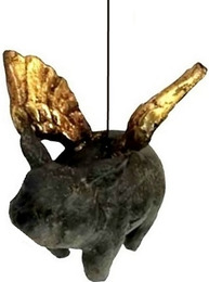 Änglagris gris med vingar svart guld shabby chic lantlig stil