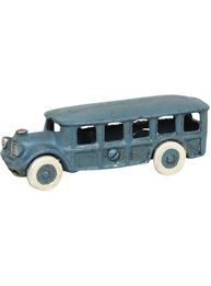 Blå lång buss bil leksak i gjutjärn shabby chic lantlig stil