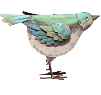 Stor fågel i plåt turkos shabby chic lantlig stil industristil