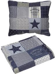 Överkast quilt pläd  New England blå vit shabby chic lantlig stil