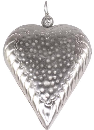 Stort hjärta silver plåt chic antique  shabby chic lantlig stil fransk lantstil