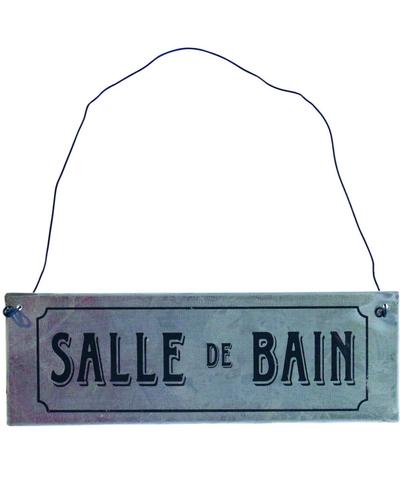 Zinkskylt Salle de Bain - badrum shabby chic lantlig stil