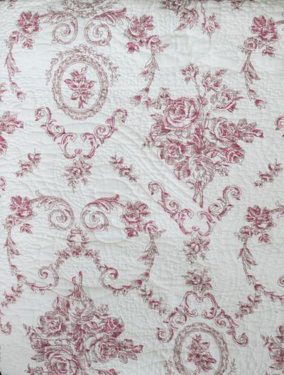 Överkast quilt gammalrosa toilemönster rosor 2 storlekar shabby chic lantlig stil