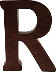R stor plåtbokstav bokstav rostbrun färg industristil