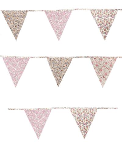 Vimplar rosa vimpelslinga vintage blommig shabby chic lantlig stil