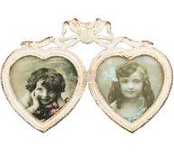 Fotoram Hjärtan metall dubbelram hjärta rosett antik-vit shabby chic lantlig stil