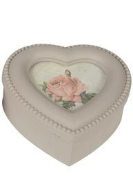 Ask trälåda hjärta rosor pärlkant för foto shabby chic lantlig stil