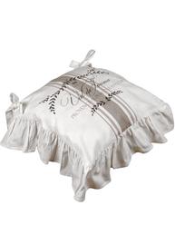 Stolfodral stolsdyna Mjöltryck med kjol beige rosa mönstrad shabby chic lantlig stil