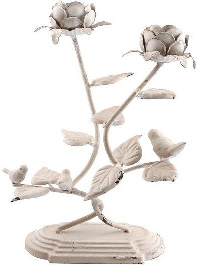 Ljusstake kandelaber vit rosor och fågel shabby chic lantlig stil