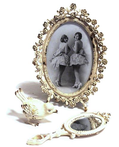 Fotoram rosor metall antik-vit romantisk shabby chic lantlig stil