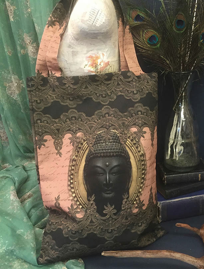 Shopping bag väska Buddha Van Ash shabby chic lantlig stil
