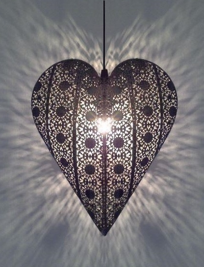 Hjärtlampa lampa hjärta i antiksilver shabby chic lantlig stil