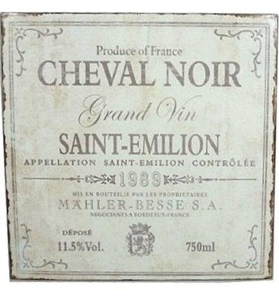 Grand Vin plåtskylt cheval noir vinskylt