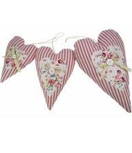 Hjärta randigt rosa vit romantisk 3 storlekar shabby chic lantlig stil