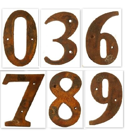Siffror rostigt gjutjärn 0 - 9