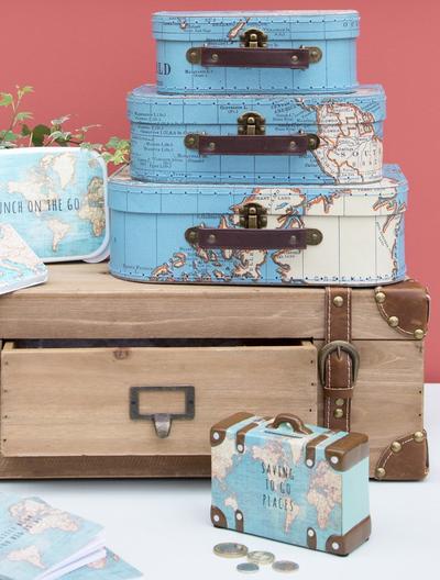 3 set väskor Vintage Karta shabby chic lantlig stil fransk lantstil