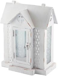 Husykta  ljushus lykta hus vit plåt shabby chic lantlig stil