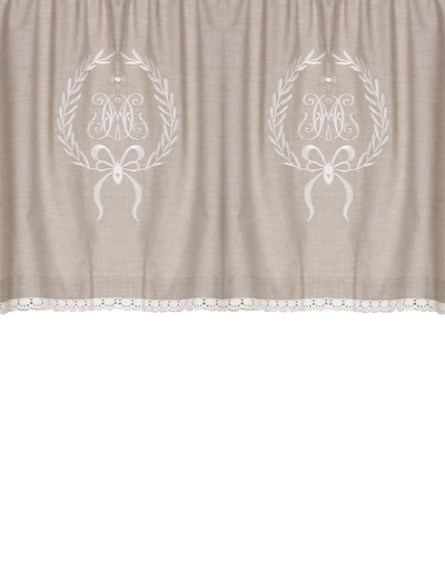 Kappa gardinkappa metervara linne-beige med vitt broderi spets shabby chic lantlig stil
