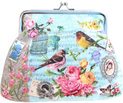 Portmonä knäppe Vintage romantisk fågelbur rosor 3 färger