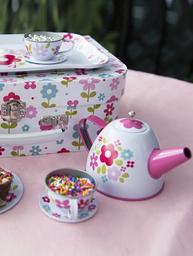 Picknick väska barnservis i Retro blommig plåt shabby chic lantlig stil