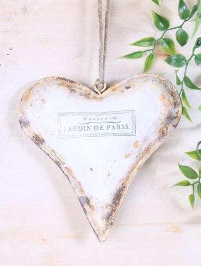 Hjärta i plåt antik-vit shabby chic lantlig stil fransk lantstil