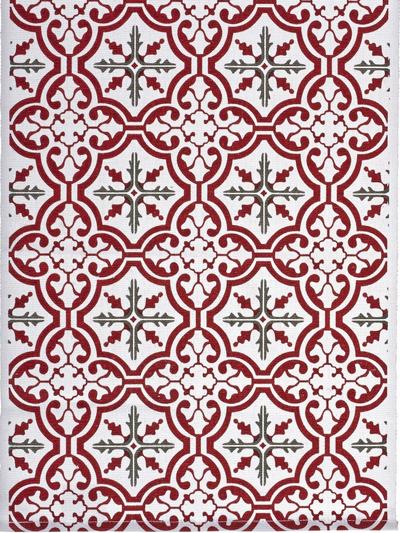 Löpare Mosaik röd shabby chic lantlig stil