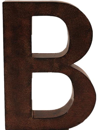 B stor plåtbokstav rostbrun färg industristil