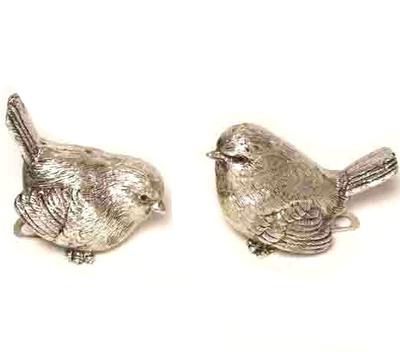 Fågel med klämma i silverfärgad 2 sorter