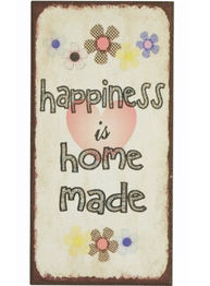 Plåtskylt med magnet  Happiness is home made shabby chic lantlig stil