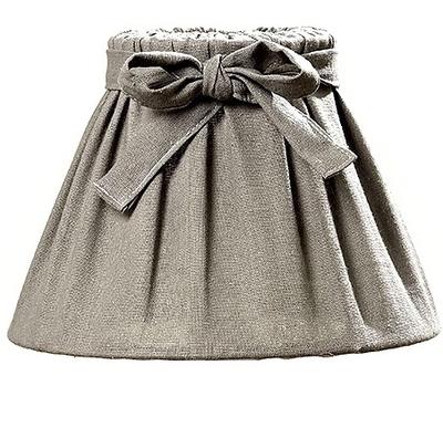 Fransk grå beige lampskärm med knytband shabby chic lantlig stil